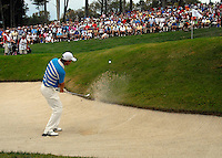 European Team player Padraig Harrington chips onto the 14th green after a poor tee shot from Robert Karlsson landed in the bunker during the Morning Foursomes on Day 2 of the Ryder Cup at Valhalla Golf Club, Louisville, Kentucky, USA, 20th September 2008 (Photo by Eoin Clarke/GOLFFILE)