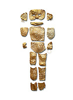 Body shaped Mycenaean gold cut outs from Grave III, 'Grave of a Women', Grave Circle A, Myenae, Greece. National Archaeological Museum Athens. White Background.<br /> <br /> Cat No 146. 16th century BC.<br /> <br /> A unique gold body covering and face of an infant child mad out of pieces of gold foll<br /> <br /> Shaft Grave III, the so-called 'Grave of the Women,' contained three female and two infant interments. The women were literally covered in gold jewelry and wore massive gold diadems, while the infants were overlaid with gold foil.