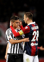 Calcio, Serie A:  Bologna vs Juventus. Bologna, stadio Renato Dall'Ara, 19 febbraio 2016. <br /> Bologna&rsquo;s Daniele Gastaldello, right, greets Juventus&rsquo; Paulo Dybala at the end of the Italian Serie A football match between Bologna and Juventus at Bologna's Renato Dall'Ara stadium, 19 February 2016. The game ended 0-0.<br /> UPDATE IMAGES PRESS/Isabella Bonotto
