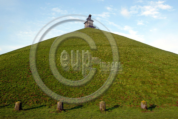 WATERLOO - BELGIUM - 07 MARCH 2004--The Lion Hill, (Butte du Lion) which is the main memorial monument of the Battle of Waterloo. It indicates the spot where the Prince of Orange was wounded.-- PHOTO: JUHA ROININEN / EUP-IMAGES