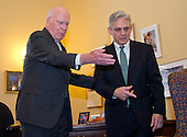 United States Senator Patrick Leahy (Democrat of Vermont), Ranking Member, US Senate Committee on the Judiciary, left, meets Judge Merrick Garland, chief justice for the US Court of Appeals for the District of Columbia Circuit, right, who is US President Barack Obama's selection to replace the late Associate Justice Antonin Scalia on the US Supreme Court on Capitol Hill in Washington, DC on Thursday, March 17, 2016.   <br /> Credit: Ron Sachs / CNP