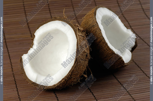 Coconut cracked in two halves