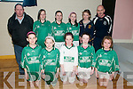 Ballyduff U/13 Indoor Soccer: Taking part in the Community Games Indoor Soccer Finals at St. Senans Sports Hall, Mountcoal, Listiowel, on Saturday last were the Ballyduff Team front: Mairead Dowling, Leone Daly, Ciara Anderson, Grace Kearney & Elannor Whelan, Back: Coach Stephen Hayes, Karla White, Rhiannon Sheehy, Niamh O'Connor, Megan O'Connor & Coach Bartley Lyons.