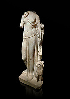 Roman statue of Nemesis. Marble. Perge. 2nd century AD. Inv no; . Antalya Archaeology Museum; Turkey. Against a black background.