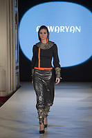 Model presents creation by brand Anwaryan created by designers Suzy Anwar and Julia Taryan of Hungary during the Budapest Fashion Week held in Budapest, Hungary on April 22, 2018. ATTILA VOLGYI