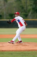 Antonio Romero Arguelles participates in the International Prospect League Showcase at the New York Yankees academy in Boca Chica, Dominican Republic on January 24, 2014 (Bill Mitchell)