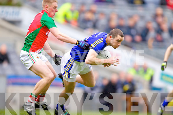 Patrick Curtin Kerry in action against  Kevin Keane Mayo in the National Football League Semi Final at Croke Park on Sunday.