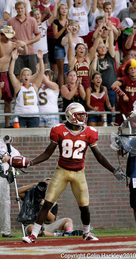TALLAHASSEE, FL 9/25/10-FSU-WF FB10 CH-Florida State's Willie Haulstead celebrates his second touchdown against Wake Forest during second half action Saturday at Doak Campbell Stadium in Tallahassee. The Seminoles beat the Demon Deacons 31-0..COLIN HACKLEY PHOTO