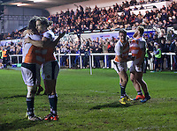Players of Ealing Trailfinders celebrate their win after the Greene King IPA Championship match between London Scottish Football Club and Ealing Trailfinders at Richmond Athletic Ground, Richmond, United Kingdom on 26 December 2015. Photo by Alan  Stanford / PRiME Media Images