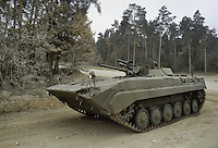 - NATO in Germany; U.S.Army, Foreign Materials Training Detachment (FMTD) at Grafenwoehr training area, Soviet BMP infantry fighting vehicle  (October 1985)<br />