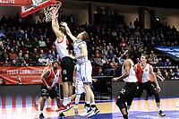 GRONINGEN - Basketbal, Donar - Feyenoord,  beker ,seizoen 2019-2020, 22-01-2020,  overgespeelde bekerwedstrijd, Donar speler Thomas Koenis in duel met Feyenoord speler Jeroen van der Ligt
