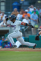 Yeyson Yrizarri (2) of the Winston-Salem Dash follows through on his swing against the Myrtle Beach Pelicans at TicketReturn.com Field on May 16, 2019 in Myrtle Beach, South Carolina. The Dash defeated the Pelicans 6-0. (Brian Westerholt/Four Seam Images)