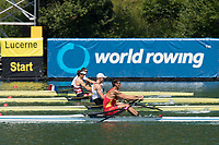 Lucerne, SWITZERLAND, 13th July 2018, Friday, CHN M1X, Liang ZHANG,  on the start pontoon, FISA World Cup series, No.3, Lake Rotsee, Lucerne, © Peter SPURRIER,