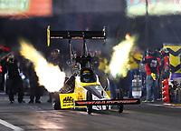 Apr 20, 2018; Baytown, TX, USA; NHRA top fuel driver Richie Crampton during qualifying for the Springnationals at Royal Purple Raceway. Mandatory Credit: Mark J. Rebilas-USA TODAY Sports