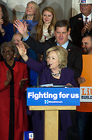 Hillary Clinton endorsed by unions and Mayor Marty Walsh at Faneuil Hall Boston MA 11.29.15