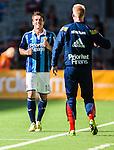 Stockholm 2014-04-27 Fotboll Allsvenskan Djurg&aring;rdens IF - IF Brommapojkarna :  <br /> Djurg&aring;rdens Erton Fejzullahu p&aring; v&auml;g att gratuleras av Djurg&aring;rdens m&aring;lvakt Hampus Nilsson efter sitt 2-0 m&aring;l<br /> (Foto: Kenta J&ouml;nsson) Nyckelord:  Djurg&aring;rden DIF Tele2 Arena Brommapojkarna BP jubel gl&auml;dje lycka glad happy