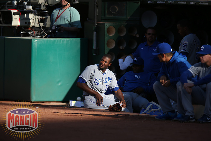 OAKLAND, CA - MAY 18:  Lorenzo Cain #6 of the Kansas City Royals watches from the dugout during the game against the Oakland Athletics at O.co Coliseum on Saturday May 18, 2013 in Oakland, California. Photo by Brad Mangin