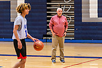 WATERBURY, CT. 05 December 2018-120518 - Crosby High boys basketball Head coach Nick Augelliduring looks on during pre season practice before the start of the 2018-2019 season at Crosby High School in Waterbury on Wednesday. Bill Shettle Republican-American