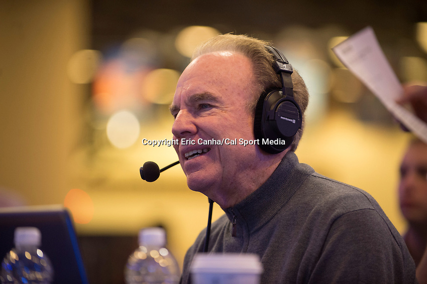 Friday, February 5, 2016: Football legend Roger Staubach takes part in a morning radio program on XM radio  at the Moscone Center in San Francisco, California during the National Football League week long opening celebrations for Super Bowl 50 between the Carolina Panthers and the Denver Broncos . Eric Canha/CSM