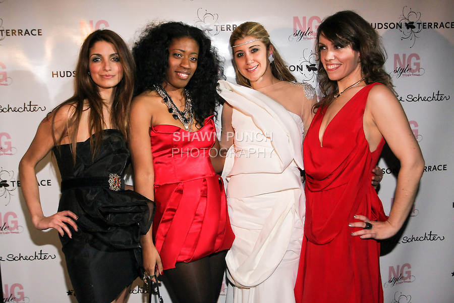 "Iman Hussein, Dominique Auxilly, Engie Hassan, and Carrie Schechter, pose during the EngieStyle one year anniversary, ""A Tale of the Black Dress"", fashion presentation."