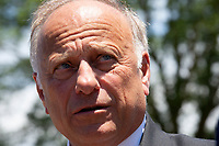 United States Representative Steve King (Republican of Iowa) speaks to the press after a press conference on sanctuary cities in Washington D.C., U.S. on June 12, 2019. Photo Credit: Stefani Reynolds/CNP/AdMedia
