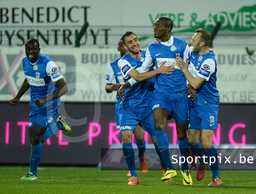 KV Kortrijk - Racing Genk : vreugde bij Genk na de 2-2 gelijkmaker van Sekou Cisse (m)<br /> foto VDB / BART VANDENBROUCKE