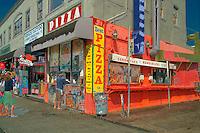 Venice beach, CA, Pizza Fast Food, Ocean, Front, Walk, Boardwalk, sidewalk, Enhanced digital Image, Computer CGI, sunny, day, people,  sun, north, america, los angeles, california, usa, united, states, usa, pacific, ocean,