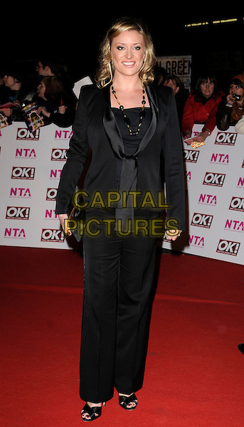 LAURIE BRETT.The National Television Awards held at the Royal Albert Hall, London, England. October 29th, 2008.NTA red carpet arrivals full length black suit jacket trousers clutch bag .CAP/CAN.©Can Nguyen/Capital Pictures.