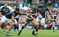 Leicester Tigers' George Ford breaks clear from Newcastle Falcons' Sonatane Takulua <br /> <br /> Photographer Stephen White/CameraSport<br /> <br /> Gallagher Premiership Round 2 - Leicester Tigers v Newcastle Falcons - Saturday September 8th 2018 - Welford Road - Leicester<br /> <br /> World Copyright &copy; 2018 CameraSport. All rights reserved. 43 Linden Ave. Countesthorpe. Leicester. England. LE8 5PG - Tel: +44 (0) 116 277 4147 - admin@camerasport.com - www.camerasport.com
