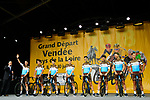 AG2R La Mondiale on stage at the Team Presentations for the 105th Tour de France 2018 held on Napoleon Square in La Roche-sur-Yon, France. 5th July 2018. <br /> Picture: ASO/Bruno Bade | Cyclefile<br /> All photos usage must carry mandatory copyright credit (&copy; Cyclefile | ASO/Bruno Bade)