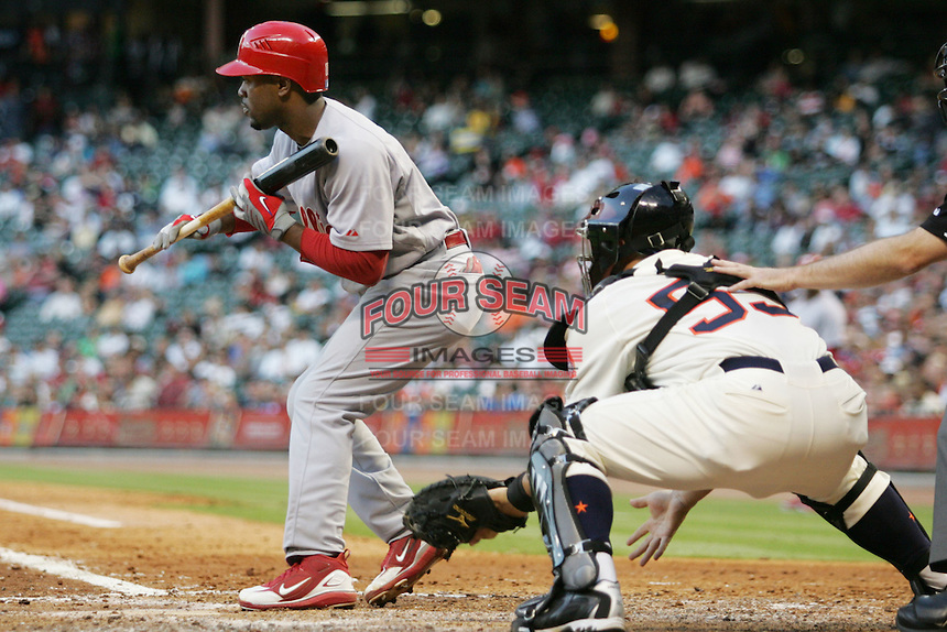 Philadelphia Phillies SS Jimmy Rollins against the Houston Astros on Turn Back the Clock Nite. Game played on Saturday April 10th, 2010 at Minute Maid Park in Houston, Texas.  (Photo by Andrew Woolley / Four Seam Images)