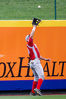 Mike Tauchman (10) of the Bradley Braves caches a fly ball to left-center field during a game against the Missouri State Bears on May 13, 2011 at Hammons Field in Springfield, Missouri.  Photo By David Welker/Four Seam Images