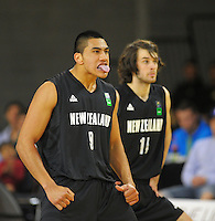 Anamata Haku and Mark Kelly perform the haka during the 2012 FIBA Oceania Men's U19 Championship match between NZ Junior Tall Blacks and Australian Emus at Te Rauparaha Arena, Porirua, Wellington, New Zealand on Saturday, 22 September 2012. Photo: Dave Lintott / lintottphoto.co.nz