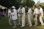 Ebernoe Horn Fair West Sussex UK. Annual cricket match on Ebernoe village Common. Ebernoe CC versus Wessex Pilgrims CC. 2015