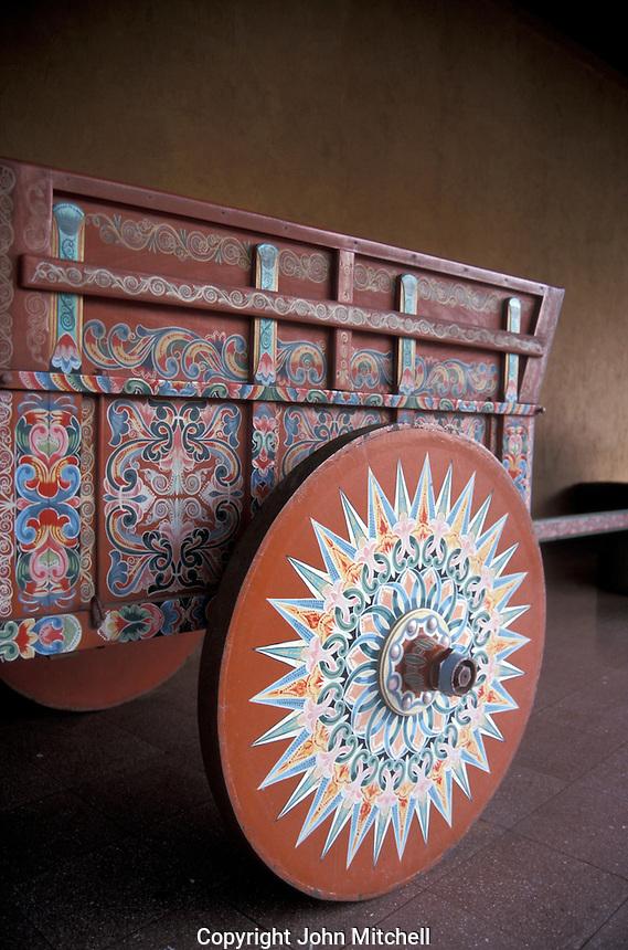Traditional painted oxcart or carreta in the Museo Nacional de Costa Rica, San Jose, Costa Rica