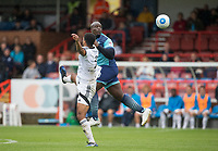 Adebayo Akinfenwa of Wycombe Wanderers heads forward during the pre season friendly match between Aldershot Town and Wycombe Wanderers at the EBB Stadium, Aldershot, England on 22 July 2017. Photo by Andy Rowland.