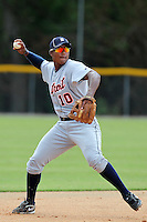 Detroit Tigers third baseman Edgar Corcino #10 during practice before an Instructional League game against the national team from China at Vero Beach Sports Complex on September 29, 2011 in Vero Beach, Florida.  (Mike Janes/Four Seam Images)