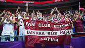 7th September 2017, Fenerbahce Arena, Istanbul, Turkey; FIBA Eurobasket Group D; Latvia versus Turkey; Fans of Latvia celebrate the victory after the match