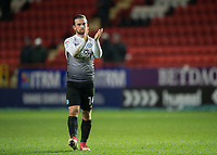Jack Marriott of Peterborough United applauds the fans during the Sky Bet League 1 match between Charlton Athletic and Peterborough at The Valley, London, England on 28 November 2017. Photo by Vince  Mignott / PRiME Media Images.