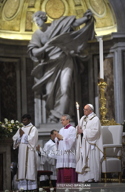 Pope Francis, during the Easter vigil mass in Saint Peter's Basilica, in the Vatican,.April 4,2015