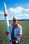 A rocketeers at a rocket launch at an amateur rocket festival..Manchester, Tennessee.