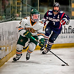 9 February 2018: University of Vermont Catamount Defender Katherine Pate, a Senior from Saco, Maine, in first period action against the University of Connecticut Huskies at Gutterson Fieldhouse in Burlington, Vermont. The Lady Cats defeated the Huskies 1-0 the first game of their weekend Hockey East series. Mandatory Credit: Ed Wolfstein Photo *** RAW (NEF) Image File Available ***
