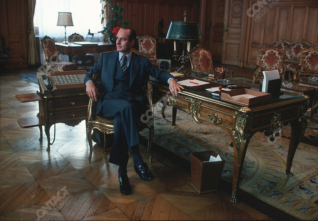 Newly-elected mayor Jacques Chirac in his office at the Hotel de Ville (City Hall), Paris, France, March 1977