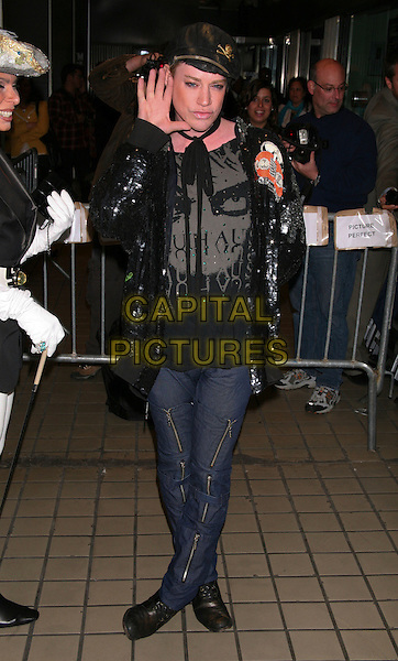 "RICHIE RICH.The Premiere of ""Solitary Man"" at Cinema 2, New York, NY, USA..May 11th, 2010.full length jeans denim zip zippers zips black jacket sequins sequined hat hand palm.CAP/LNC/TOM.©TOM/LNC/Capital Pictures."