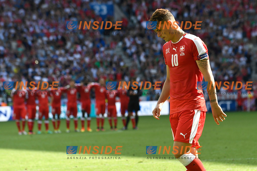 Granit Xhaka (SUI) reacts after missing a penalty Delusione  <br /> Saint Etienne 25-06-2016 Stade Geoffroy Guichard Football Euro2016 Switzerland - Poland / Svizzera - Polonia Round of 16. Foto Alain Grosclaude/freshfocus / Insidefoto