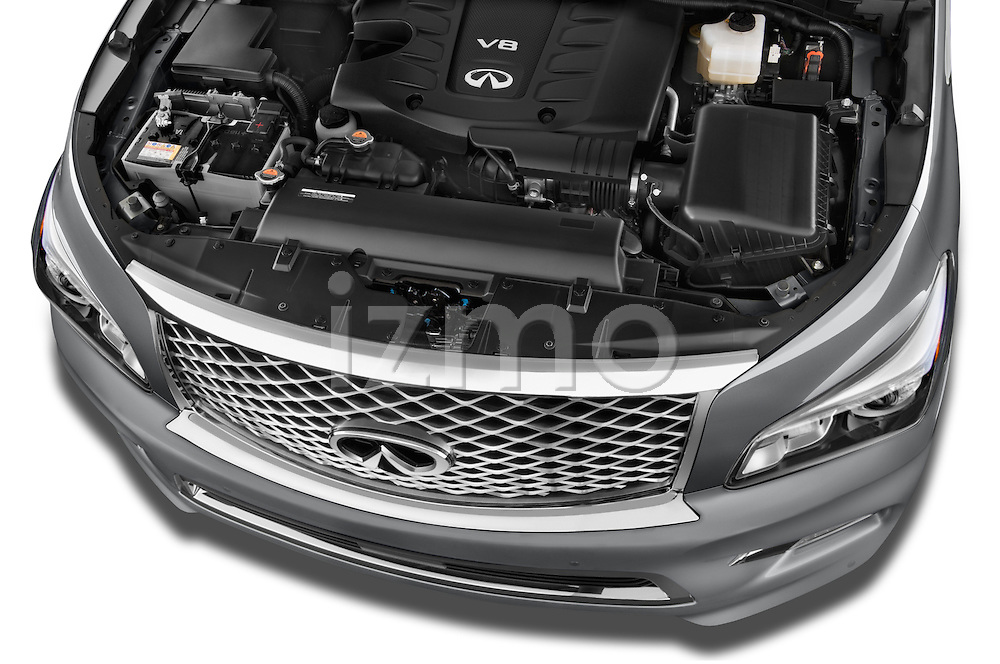 Car Stock 2017 Infiniti QX80 3.5 5 Door SUV Engine high angle detail view
