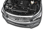 Car Stock 2015 Infiniti QX80 3.5 5 Door SUV Engine high angle detail view