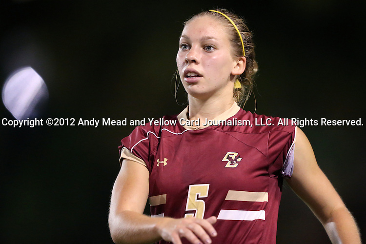 04 October 2012: Boston College's Lauren Bernard. The University of North Carolina Tar Heels defeated the Boston College Eagles 1-0 at Fetzer Field in Chapel Hill, North Carolina in a 2012 NCAA Division I Women's Soccer game.