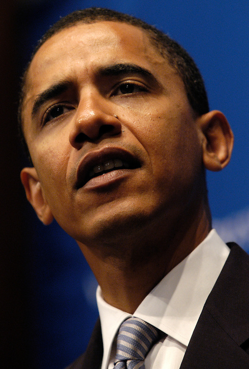 Sen. Barack Obama, D-Il., spoke today at the National Press Club against the President's Social Security reform plan.