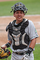 Kane County Cougars catcher Jose Queliz (24) following a Midwest League game against the Wisconsin Timber Rattlers on May 16th, 2015 at Fox Cities Stadium in Appleton, Wisconsin.  Kane County defeated Wisconsin 4-2.  (Brad Krause/Four Seam Images)